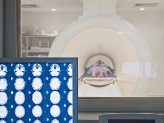 Patient having MRI examination