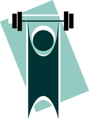 Illustration of man lifting  in the exercise tools
