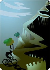Illustration of man cycle riding with mountain