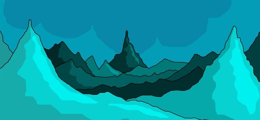 cliff of green mountain with colour background