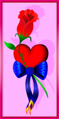 Heart, flower and bow