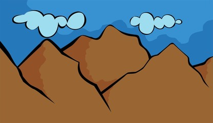 Illustration of a cliff of mountain with colour background