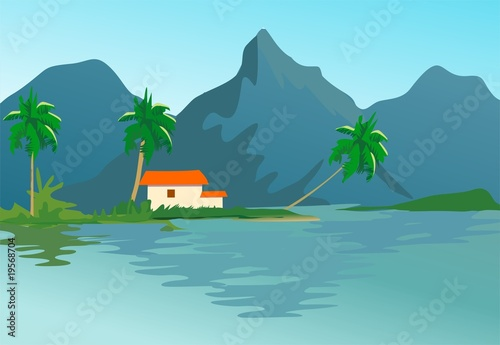 cliff of mountain with house and lake