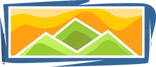 cliff of mountain with colour background