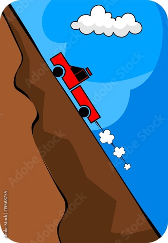 Illustration of a truck climbing though mountain