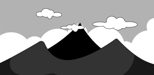 Illustration of a cliff of mountain with sky background