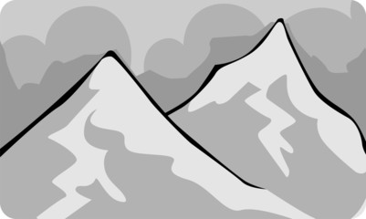 Illustration of a cliff of mount with sky background