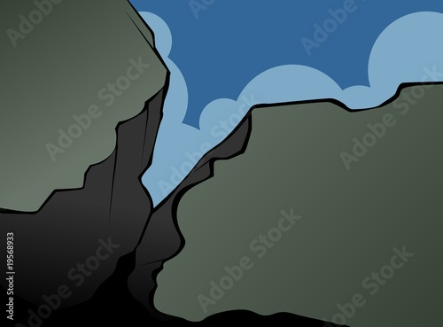 Illustration of a cliff of stone mountain