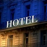 Fototapety bicolor Illuminated  hotel sign