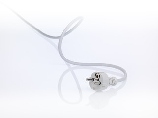 european isolated white powercord