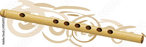 Illustration of music instruments of flute