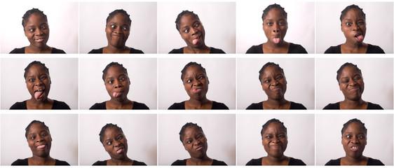 plusieurs grimaces d'une belle jeune femme togolaise