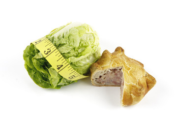 Salad Lettace with Pork Pie and Tape Measure