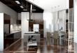 outline kitchen with black