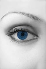 Schwarz-Weiß Close-Up mit Auge in Blau