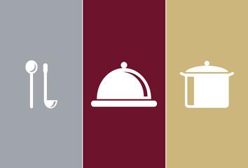 Elegant Restaurant Symbols - wooden spoon, casserole and pot