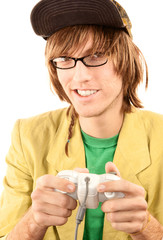 Teenage boy with game controller