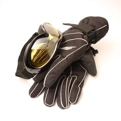 Skibrille und Handschuhe