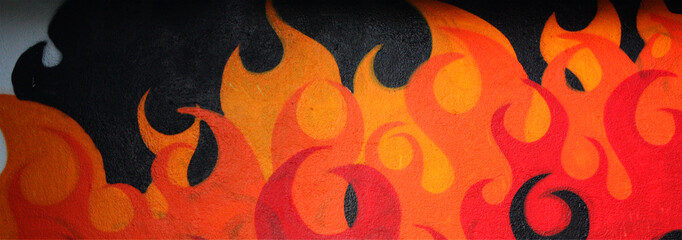 Fire graffiti wall
