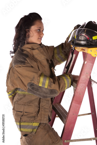 helmet on ladder