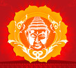 Illustration of face of Buddha in floral background