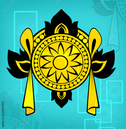 Illustration of decorated symbol in yellow background