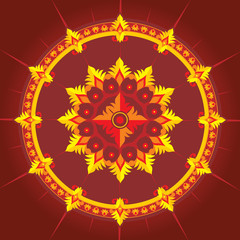 ethnic pattern in red color