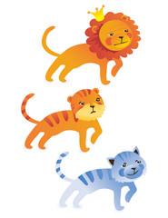cute cartoon lion, tiger, cat