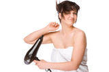 Woman with hairdryer poster