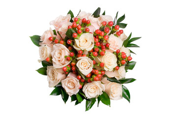 beautiful bouquet of salmon color roses