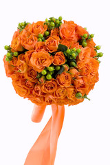 Orange roses in a lush bouquet