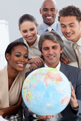 International business group smiling at global business expansio
