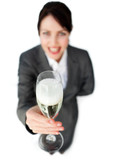 Successful Businesswoman toasting with Champagne