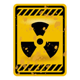 Grunge radioactivity warning sign isolated over white