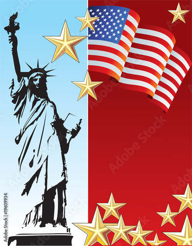 Statue of liberty background and american flag