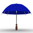 blue umbrella on white background. Isolated 3D image