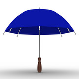 blue umbrella on white background. Isolated 3D image