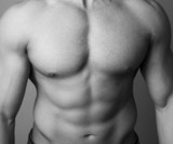 Abs of a muscular man poster