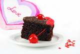 Valentine's chocolate fudge cake with Love and copy space.