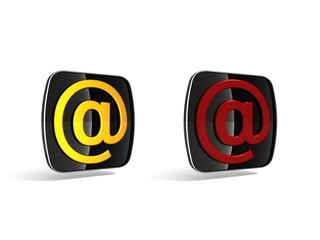 3d E-mail (@) icon (black, red end yellow)