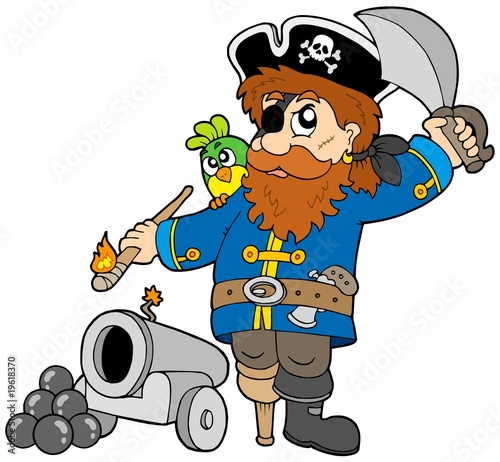 Deurstickers Piraten Cartoon pirate with cannon