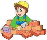 Happy bricklayer poster