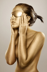 gold bodypainted girl