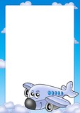 Frame with cute airplane and clouds