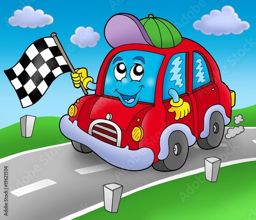 Poster Cars Car race starter on road