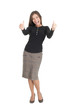 Happy businesswoman isolated giving thumbs up