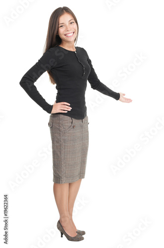 Casual businesswoman welcome gesture