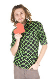 young dreadlock man with red paper heart isolated poster