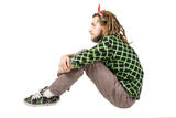 young dreadlock man sit isolated poster