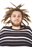 young dreadlock man lie isolated poster